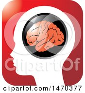 Clipart Of A Profiled Head With A Visible Brain On A Red Icon Royalty Free Vector Illustration by Lal Perera