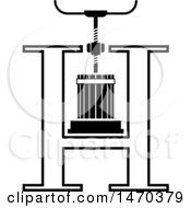 Clipart Of A Black And White Grape Press Forming A Letter H Royalty Free Vector Illustration