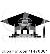 Clipart Of A Graduation Cap Building Royalty Free Vector Illustration