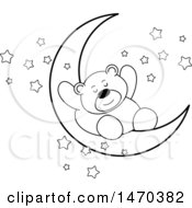 Clipart Of A Black And White Bear Sleeping On A Crescent Moon Royalty Free Vector Illustration by Lal Perera