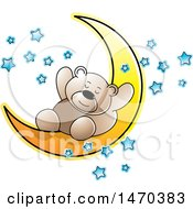 Clipart Of A Bear Sleeping On A Crescent Moon Royalty Free Vector Illustration