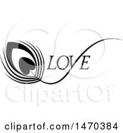 Clipart Of A Black And White Feather With A Heart And Love Text Royalty Free Vector Illustration