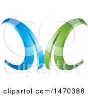 Clipart Of A Blue And Green Abstract Letter M Design Royalty Free Vector Illustration by Lal Perera