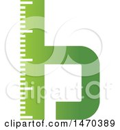 Clipart Of A Green Letter B Ruler Design Royalty Free Vector Illustration by Lal Perera