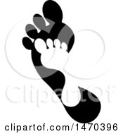 Clipart Of A Silhouetted Little Foot Over A Big One Royalty Free Vector Illustration