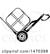 Clipart Of A Black And White Package On A Dolly Royalty Free Vector Illustration by Lal Perera