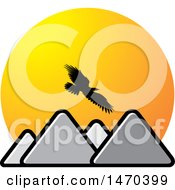 Clipart Of A Silhouetted Eagle Flying Over Mountains And Sunset Sky Royalty Free Vector Illustration