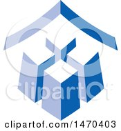 Clipart Of A Blue City Building Design With A Roof Royalty Free Vector Illustration by Lal Perera