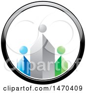 Clipart Of A Circle With Three Abstract Tower People Royalty Free Vector Illustration