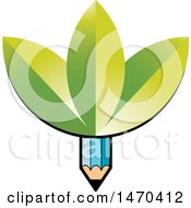 Clipart Of A Blue Pencil With Green Leaves Royalty Free Vector Illustration by Lal Perera