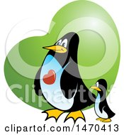Penguin Parent And Baby Over A Green Heart