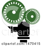 Clipart Of A Green And Black Cinema Camera Royalty Free Vector Illustration by Lal Perera