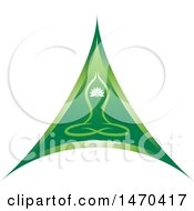 Clipart Of A Green Triangle With A Yoga Person Royalty Free Vector Illustration by Lal Perera