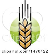 Clipart Of A Wheat Stalk On Green Royalty Free Vector Illustration by Lal Perera
