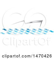 Clipart Of A Silver Abstract Boat On Water Royalty Free Vector Illustration by Lal Perera