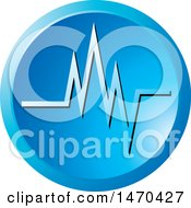 Clipart Of A Round Blue Heartbeat Icon Royalty Free Vector Illustration