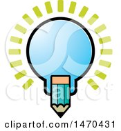 Clipart Of A Light Bulb And Pencil Royalty Free Vector Illustration by Lal Perera