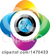 Clipart Of A Colorful Clock With 24 On The Face Royalty Free Vector Illustration by Lal Perera