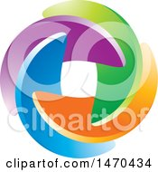 Clipart Of A Colorful Circle Made Of Swooshes Royalty Free Vector Illustration by Lal Perera