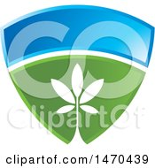 Clipart Of A Blue And Green Shield With A Plant Royalty Free Vector Illustration