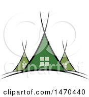 Clipart Of A Green Tent Design Royalty Free Vector Illustration