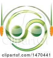 Clipart Of A Green And Orange Abstract Zen Carrot Design Royalty Free Vector Illustration by Lal Perera