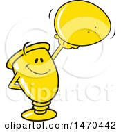 Clipart Of A Trophy Mascot Holding Up An Egg Royalty Free Vector Illustration by Johnny Sajem