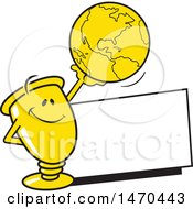 Clipart Of A Trophy Mascot Holding Up A Globe Over A Blank Sign Royalty Free Vector Illustration by Johnny Sajem
