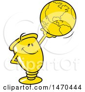Clipart Of A Trophy Mascot Holding Up A Globe Royalty Free Vector Illustration by Johnny Sajem