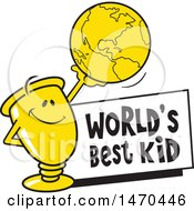 Clipart Of A Trophy Mascot Holding Up A Globe Over A Worlds Best Kid Sign Royalty Free Vector Illustration by Johnny Sajem