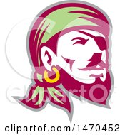 Clipart Of A Retro Male Pirate Wearing A Banadana And Eye Patch Royalty Free Vector Illustration by patrimonio