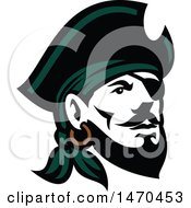 Clipart Of A Retro Male Pirate Wearing A Hat And Eye Patch Royalty Free Vector Illustration by patrimonio