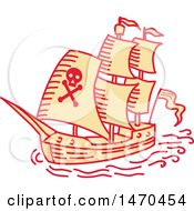 Clipart Of A Pirate Ship In Mono Line Style Royalty Free Vector Illustration