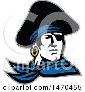 Clipart Of A Retro Male Pirate Wearing A Tricorn Hat And Eye Patch Royalty Free Vector Illustration by patrimonio