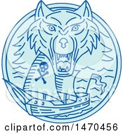 Clipart Of A Blue Sea Wolf Over A Pirate Ship In Line Art Style Royalty Free Vector Illustration by patrimonio