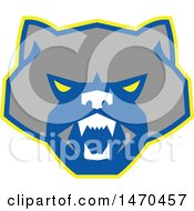 Retro Angry Wolverine Face In Gray Blue And Yellow