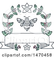 Clipart Of A Bee With Coffee Leaves And Berries Over A Blank Banner Royalty Free Vector Illustration