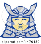 Clipart Of A Bushido Samurai Face In Armor Royalty Free Vector Illustration by patrimonio