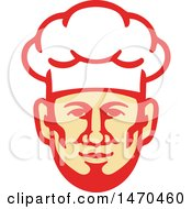 Retro Male Chef Face With A Toque Hat