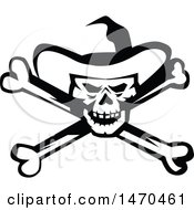 Clipart Of A Black And White Cowboy Skull And Cross Bones Royalty Free Vector Illustration