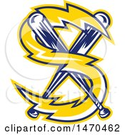 Clipart Of A Letter S Lightning Bolt And Crossed Baseball Bats Royalty Free Vector Illustration