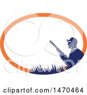 Clipart Of A Silhouetted Duck Hunter Holding A Shotgun In A Blue And Orange Oval Royalty Free Vector Illustration by patrimonio