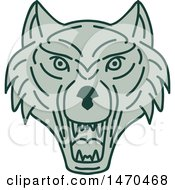 Green Wolf Head In Line Art Style