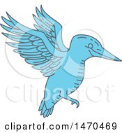 Blue Flying Kingfisher Bird In Line Art Style