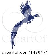 Blue And White Flying Pheasant Bird