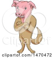 Creature With A Pig Head And Dog Body In Cartoon Sketch Style