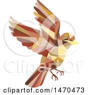 Flying Sparrow Bird In Low Polygon Style