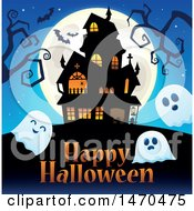 Clipart Of A Group Of Halloween Ghosts Near A Haunted House Royalty Free Vector Illustration