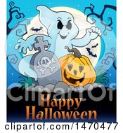 Clipart Of A Ghost With A Tombstone And Halloween Jackolantern Over Text Royalty Free Vector Illustration