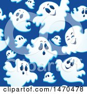 Seamless Ghosts On Blue Halloween Pattern Background